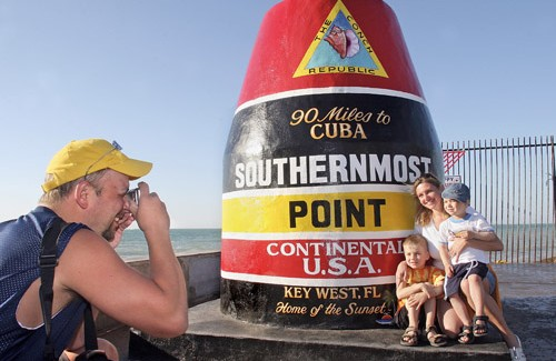 Southernmost Point marker in Key West, Fla.