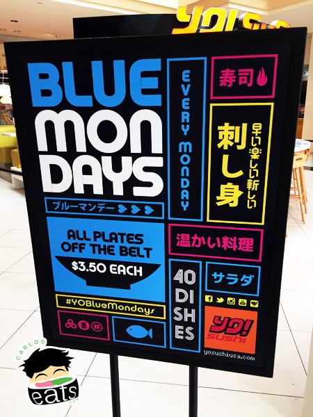 YO! Sushi Blue Mondays $ 3.50 deal